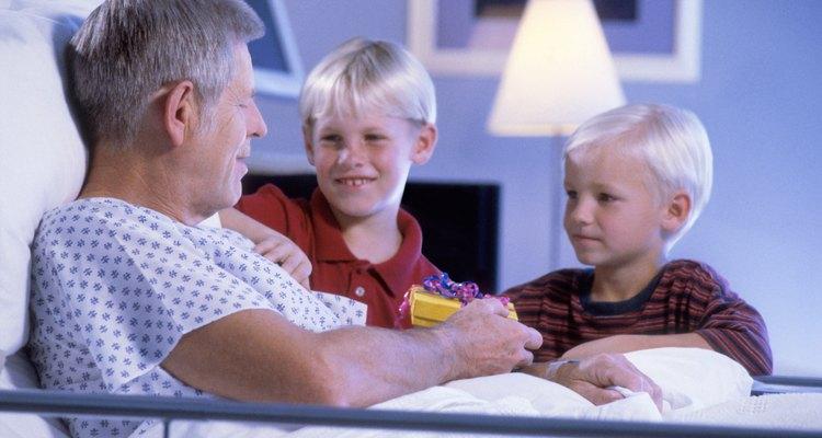 Grandchildren visiting grandfather in hospital