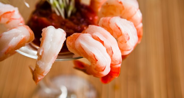 High angle view of shrimp cocktail