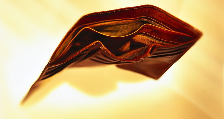high angle view of an empty wallet lying open