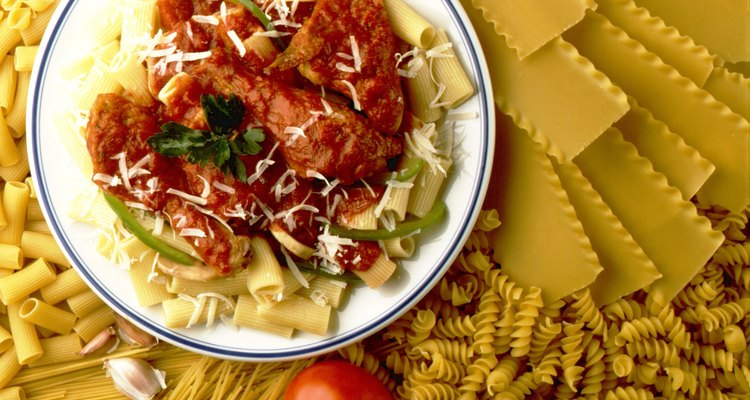 Chicken Parmesan and pasta is a classic combination.