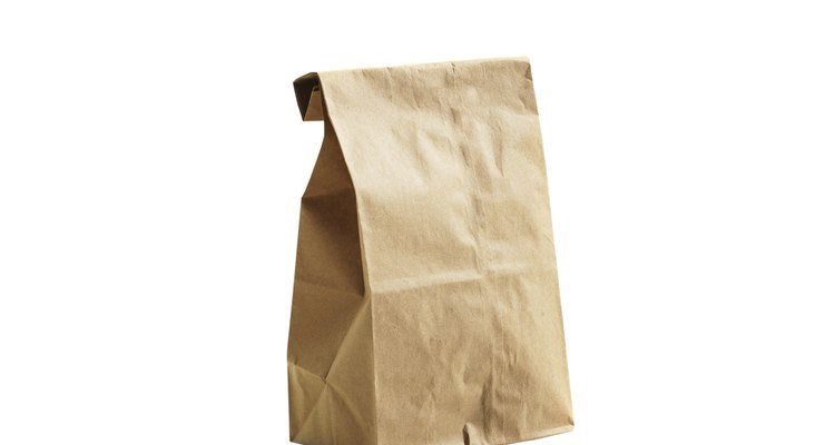 Brown lunch bag on white background