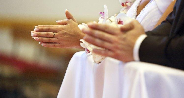 Newlyweds at the catholic church