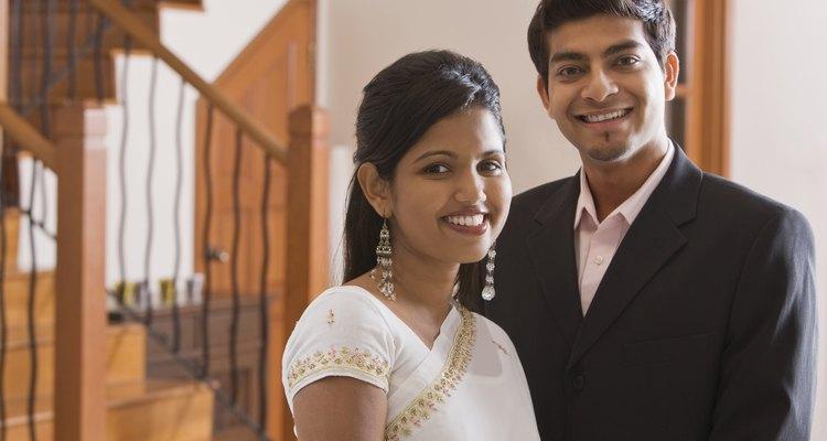 Happy couple dressed up