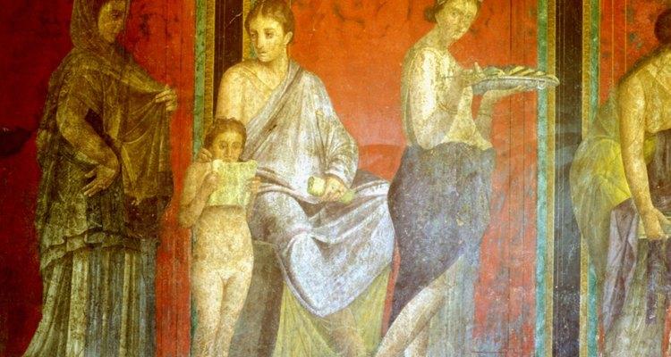 Parte de un mural romano descubierto por arqueólogos en Pompeya.