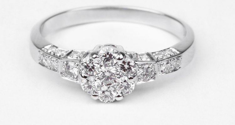 Contemporary diamond ring isolated on white background