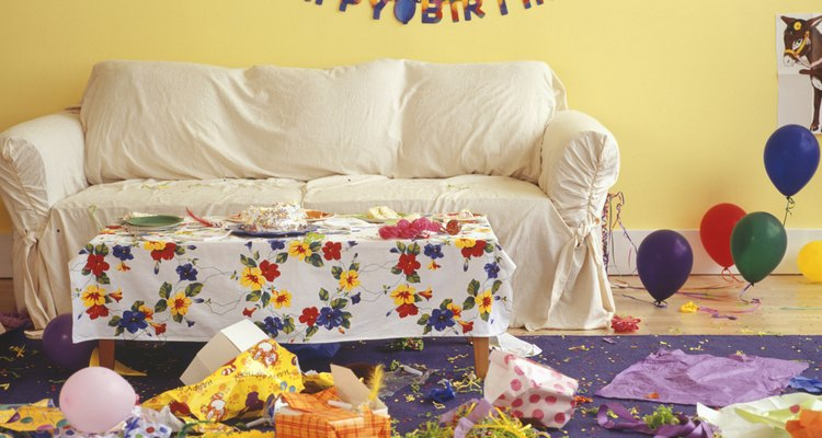Sitting room in mess from children birthday party