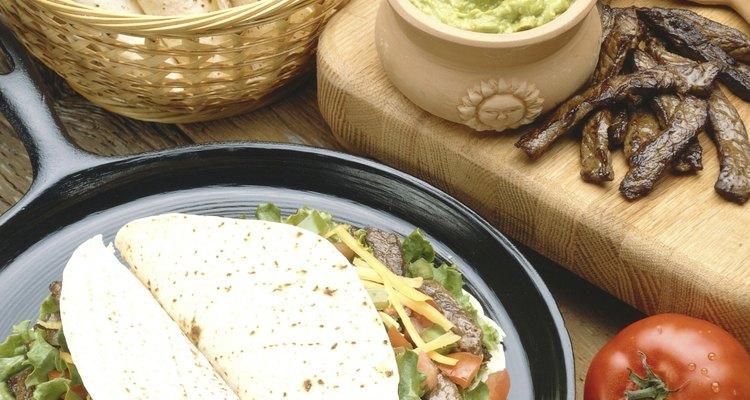 Fresh steak tacos and ingredients