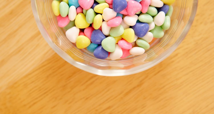 High angle view of bowl of colorful candies