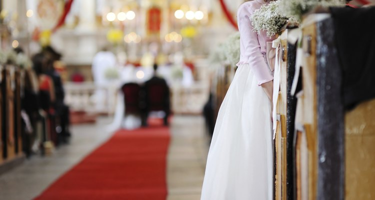 Girl watching a wedding ceremony