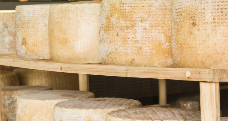 series of round forms of cheese for sale in market