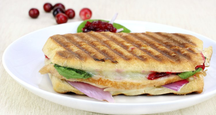 Panini sandwich of fresh turkey, spinach, melted cheese and cranberries