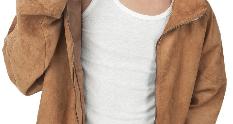 Without a protective scarf, body oil will often leave a stain on suede jackets.