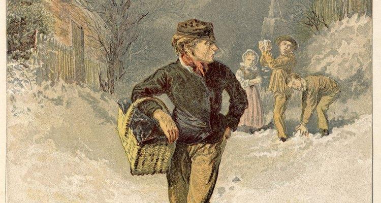 Apesar do frio cortante, a menina continuava tentando vender os fósforos