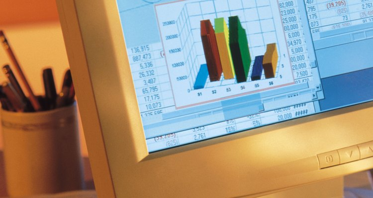 Um gráfico de colunas pode exibir diferentes categorias ou dados em cores diferentes