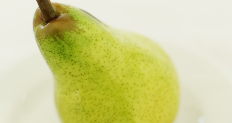 Close-up of a pear on a plate