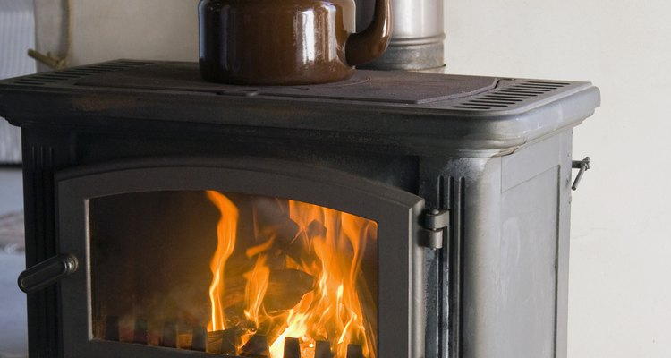 Insulate against heat damage from a wood burning stove.