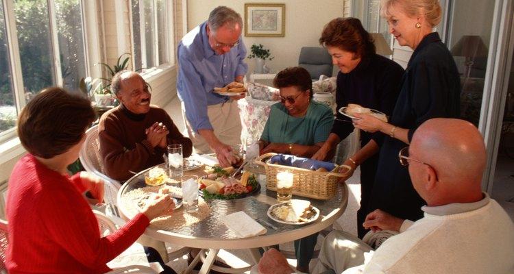 Group of people having breakfast