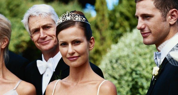 Newlywed couple at wedding reception