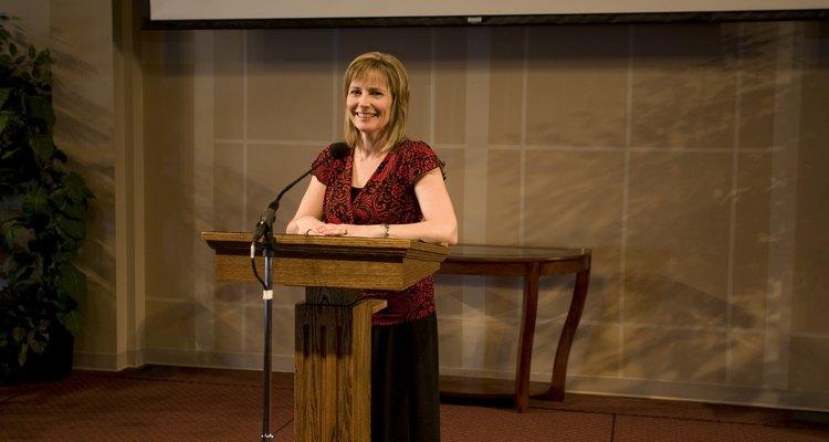 A woman giving a speech
