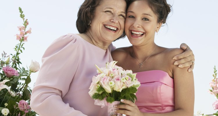 Happy Mother and Bride With Bouquet