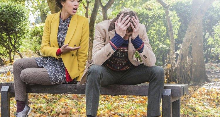 Arguing park couple