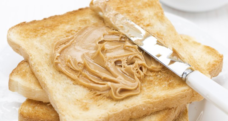 crispy toast with peanut butter for breakfast