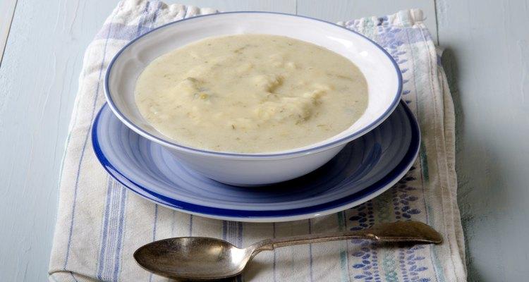 potato leek soup in a bowl