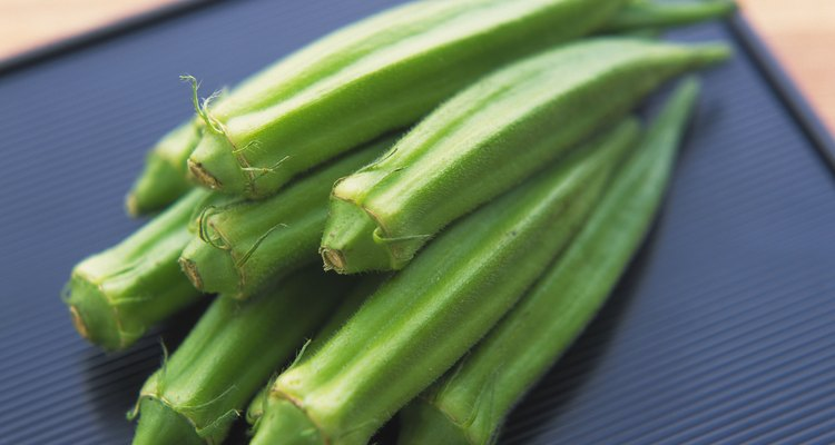 Closed Up Image of Several Okras On a Black, Square Plate, High Angle View, Differential Focus