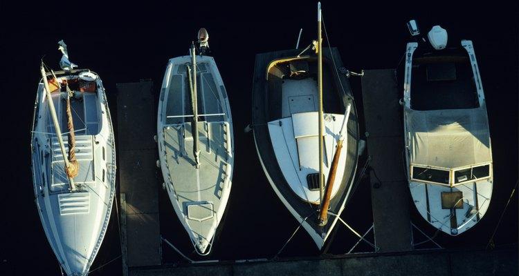 Boats moored at Lake Union, Seattle, Washington, USA, elevated view