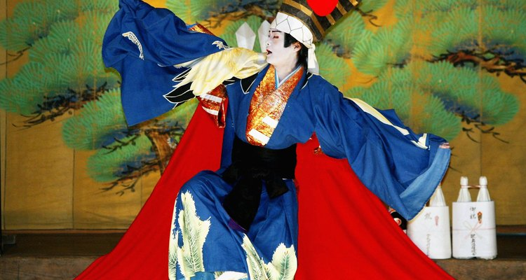 Kabuki costumes are as colourful and stylised as the make-up.