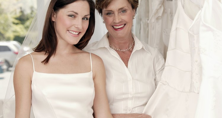 Mother and daughter in bridal shop