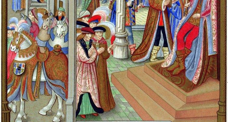 La vestimenta de las clases más altas generalmente era más colorida y ornamentada, tal como se muestra en este manuscrito de la época.