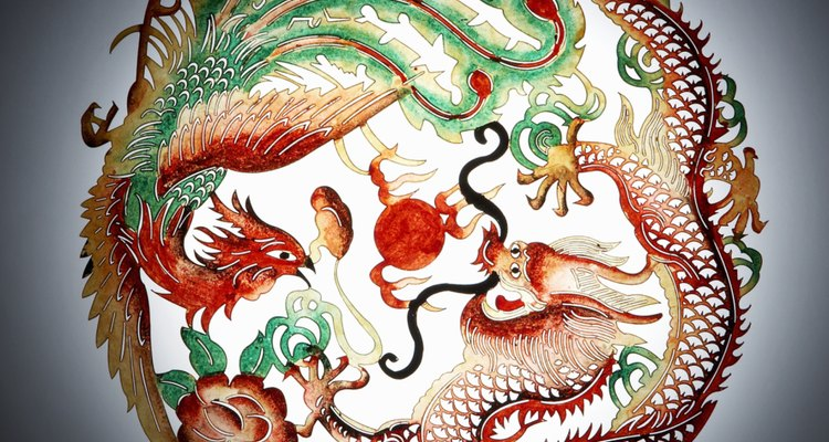Feng Huang, the Chinese version of the phoenix, is depicted here paired with a dragon.