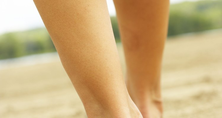 Unused calf muscles become shorter and may appear smaller.