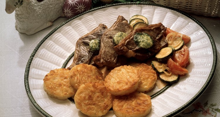 Lamb Chop with Herb Butter and Semolina Patties