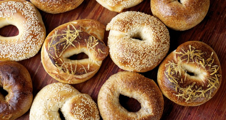 aerial view of assorted bagels