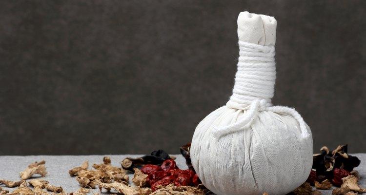 white cloth herbal compress ball