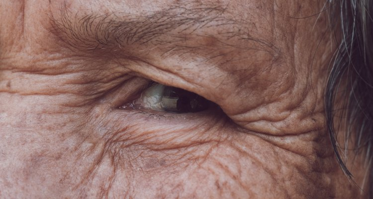 Senior woman's eye with filter effect retro vintage style