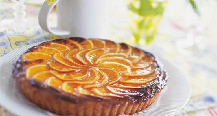 Orange tart on plate