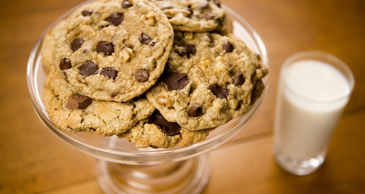 Cookies on a glass dish