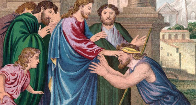 The blind man wasn't afraid to ask for Jesus' help, so Jesus healed him.