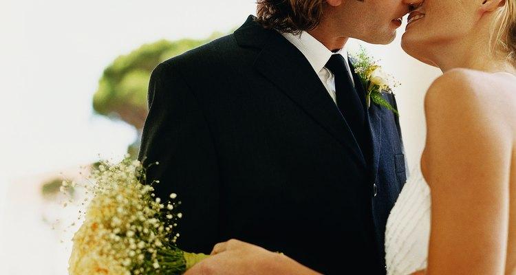 Newlywed Bride and Groom Kissing