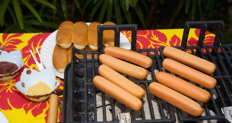 Barbecue scene, Hot dogs on the grill.