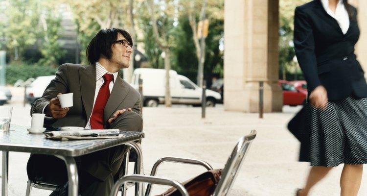 Businessman Looks Pleased as Businesswoman Walks by, barcelona, Spain