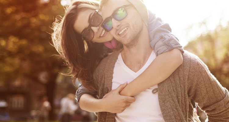 Young couple have fun in sunny day