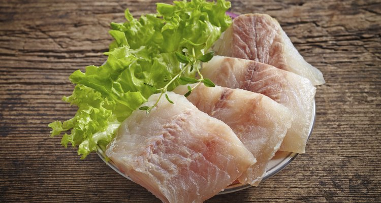 raw hake fish fillet pieces