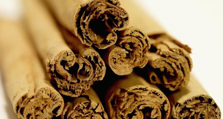 Close-up of a pile of cinnamon sticks