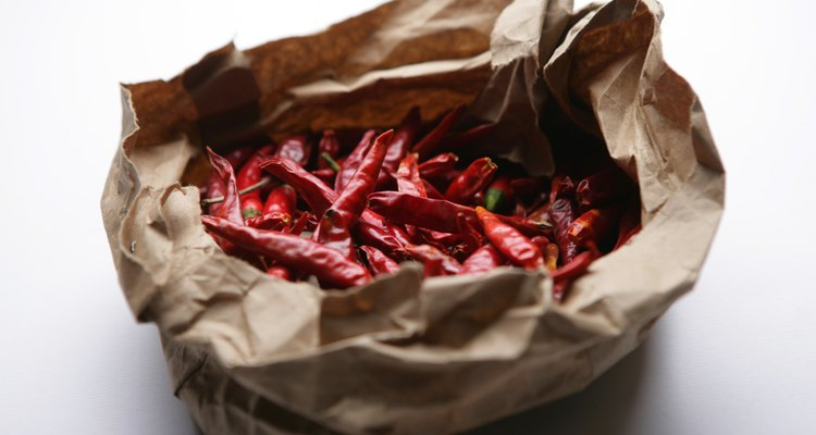 Dried chilli peppers in paper bag