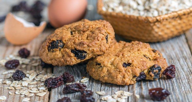 Homemade oatmeal cookies, eggs and raisins.