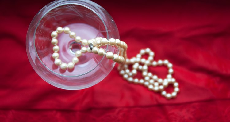 pearls in wine glass